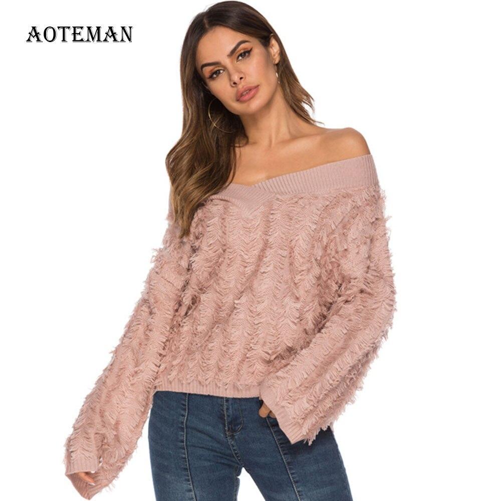 Tassel Sweater Warm Pullover Off-Shoulder Oversized Loose Autumn Winter V-Neck Casual