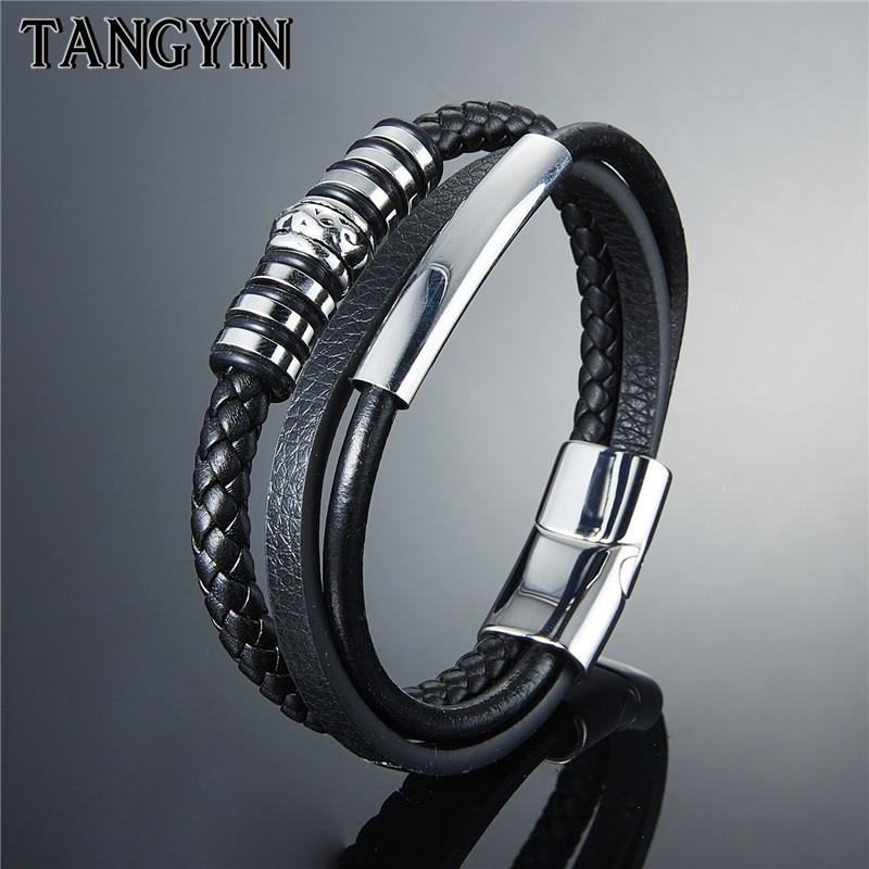 TANGYIN Black Genuine Leather Bracelet Geometrically Irregular Graphics Stainless Steel Bracelet For Men Accessories Jewelry