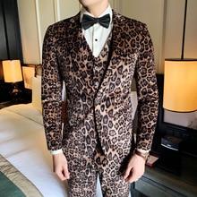 Suit Men's Single Button Suit Printing Leopard Print Suit Evening Suit Men's Suit  Christmas Suit  Slim SuitMen 3 Piece SuitsMen suit wessi suit