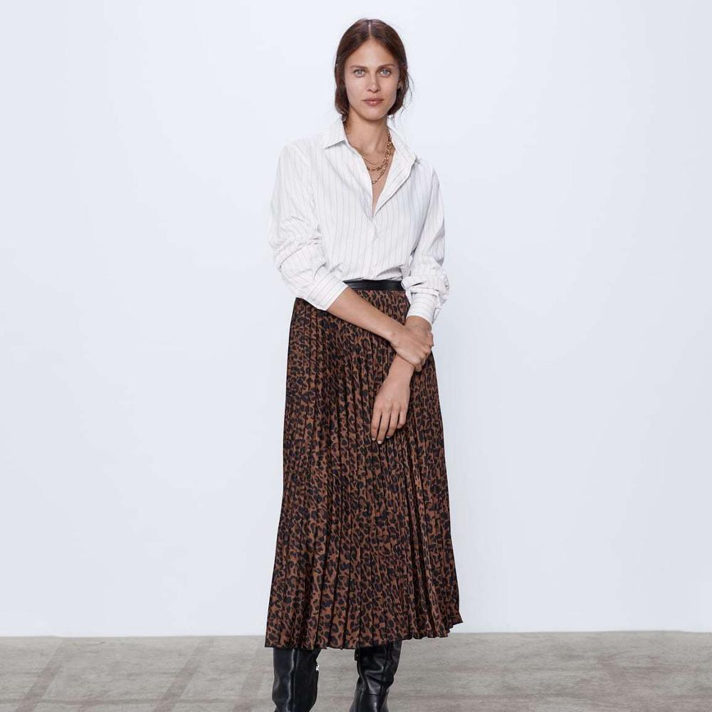 2019 ZA New Sexy Leopard Print Pleated Skirt Autumn Winter Knee Length High Waist High Street Casual Loose Bottoming Skirt