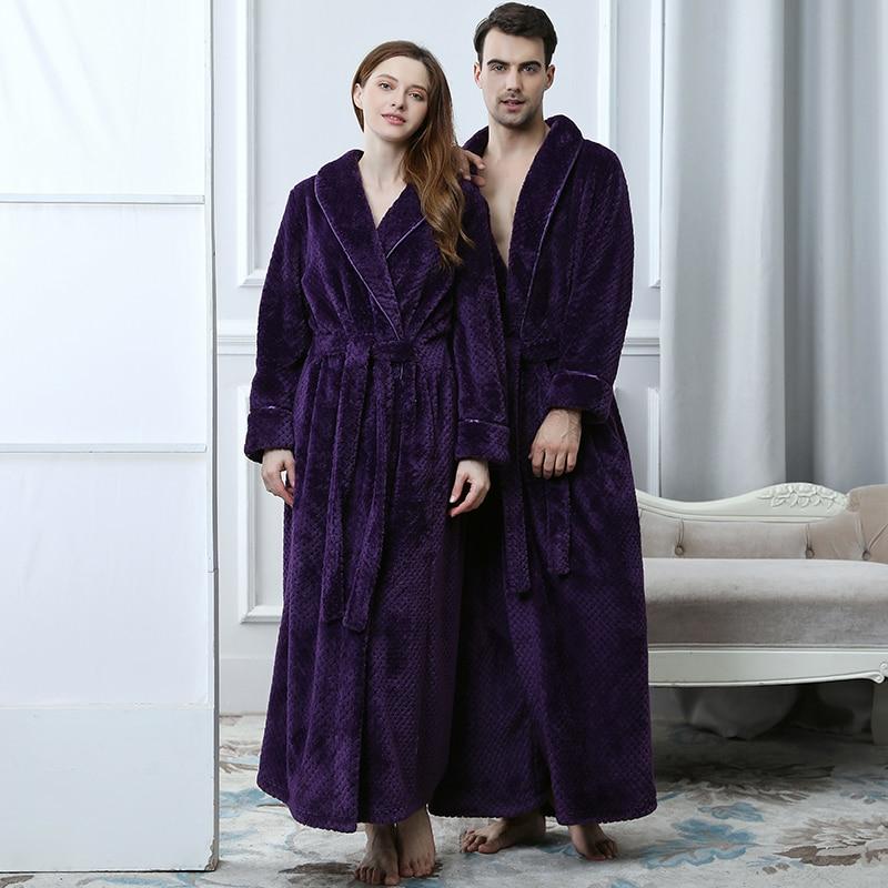 Men Winter Extra Long Thick Warm Grid Flannel Bathrobe Mens Luxury Kimono Bath Robe Women Sexy Robes Male Thermal Dressing Gown