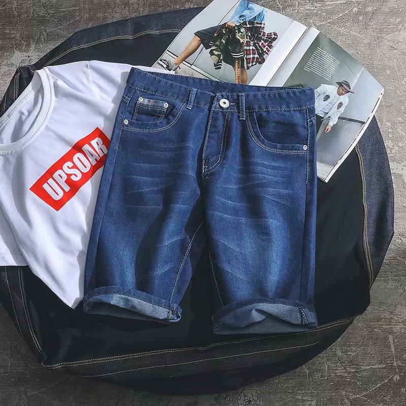Korean-style Summer Thin Section Denim Shorts Men Casual Breeches 5 Pants Shorts Loose Straight Large Size Shorts