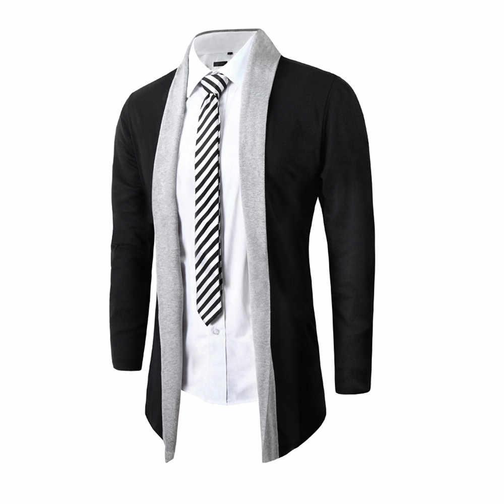 JAYCOSIN kış ceket erkekler ince pamuk siyah uzun ceket takım elbise erkekler 2019 moda uzun kollu hırka ceketler palto Veste Homme 1025
