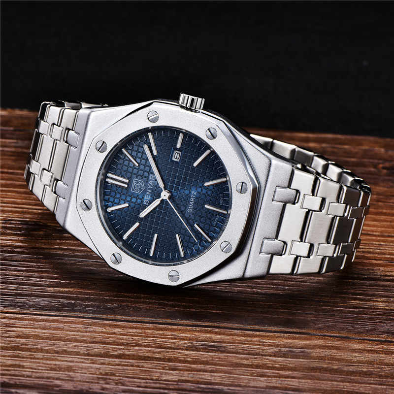 BENYAR 2020 nowe niebieskie męskie zegarki Top luksusowa marka wojskowy pełny stalowy zegarek kwarcowy mężczyźni wodoodporny zegarek sportowy Relogio Masculino