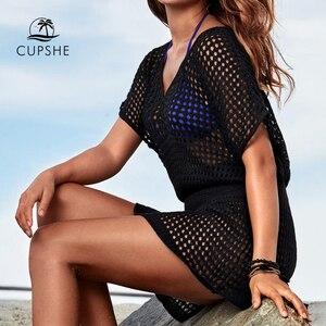 Image 1 - CUPSHE Ivory / Black Crochet Bikini Cover Up Women Sexy V neck Mesh Cut Out See through Tunic Beach Dress 2020 Summer Beachwear