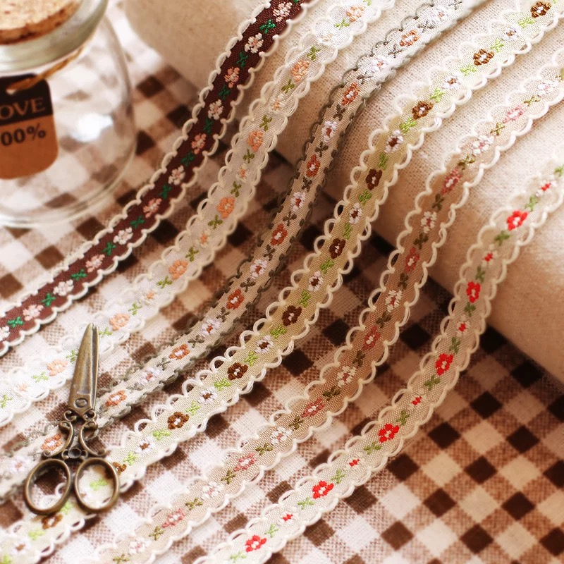 20 mètres petite fleur broderie dentelle bordure de tissu rubans 1.2cm bricolage couture vêtement fait main matériaux accessoires 18 couleurs