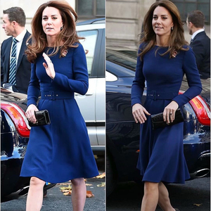 Image 4 - Cinto de manga longa slim para mulheres, vestido de banquete azul e slim para primavera 2020