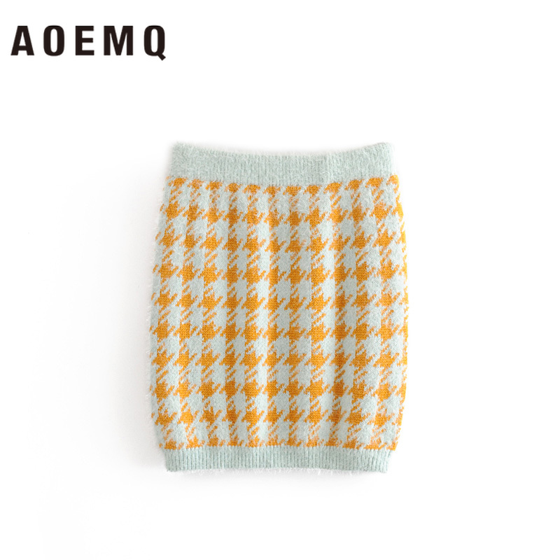 AOEMQ Casual Skirts Irregular Plaid Print Girl Pencil Slim Skirts Office Lady Floral Sets Couple Appointment Women Clothing
