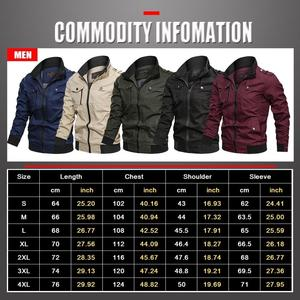 Image 5 - Men Bomber Jackets Multi Pockets Autumn New Casual Mens Military Pilot Coats Solid Stand Collar Cargo Outwear Windbreaker Male