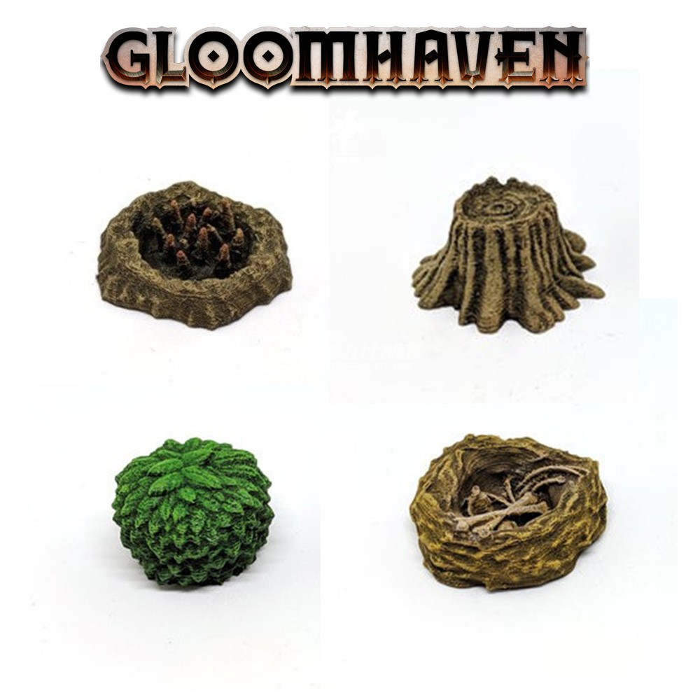 GLOOMHAVEN TRPG Miniature Board Game 3D Silver Gold Token Scene Tools Grass Wooden Pile Nest Trap Models Figures Accessories