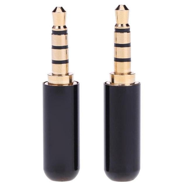 2 uds. De conector de cable de 3,5mm, 1/8 pulgadas, conector TRRS de 3,5 MM, 4 puertos, adaptador de Audio estéreo para dispositivos de reparación de auriculares DIY