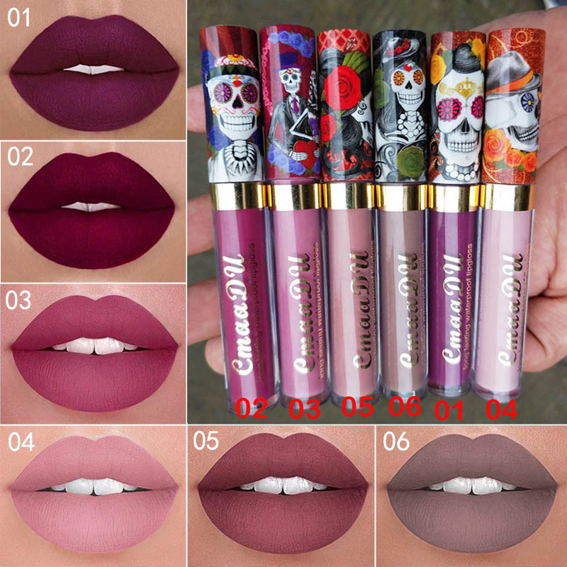 Cmaadu 6 Color Velvet Matte Liquid Lipstick Waterproof Long Wear Lip Gloss Makeup Nude Rouge Tattoo Lips Tint Women Cosmetic