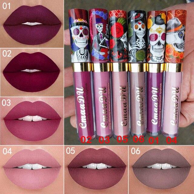 Cmaadu 6 Color Velvet Matte Liquid Lipstick Waterproof Long Wear Lip Gloss Makeup Nude Rouge Tattoo Lips Tint Women Cosmetic