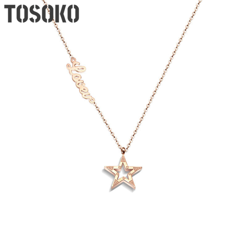 TOSOKO Korean popular love star short necklace female rose gold five-pointed star letter clavicle necklace stainless steel