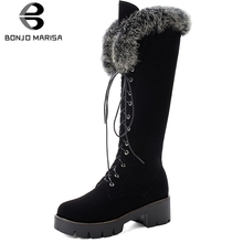 BONJOMARISA New 33-43 Warm Fur mid-calf Boots Women 2019 Winter Cross Tied Platform Boots Ladies non-slip Med Heels Shoes Woman недорого