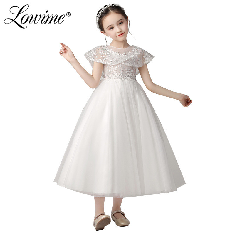 Vestido De Daminha 2019 New Custom Blue   Flower     Girl     Dresses   Tea Length Communion   Dresses   Tulle A Line   Girls   Pageant   Dresses
