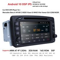 In Stock 7Android 10 Car DVD Player For Mercedes Benz W209 W203 W463 Viano Vito Wifi 4G GPS Bluetooth Radio Stereo