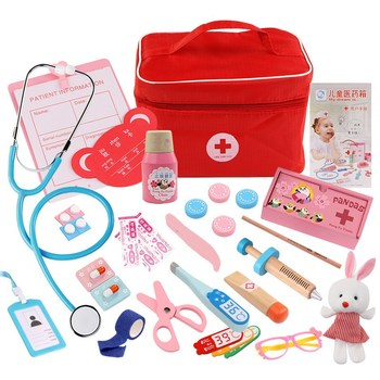 Baby Red Pretend Play Wood Doctor Toys Medical Kit Dentist Medicine Box Sets Cloth Bag Packing Games Baby Gift kids toys doctor set baby suitcases medical kit cosplay dentist nurse simulation medicine box with doll costume stethoscope gift