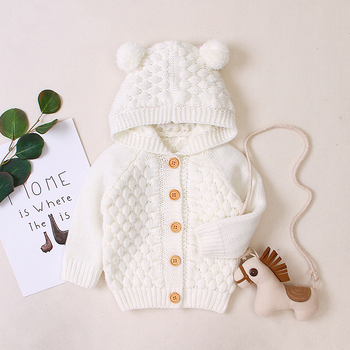 LZH 2020 Autumn Infant Hooded Knitting Jacket For Baby Clothes Newborn Coat For Baby Boys Girl Jacket Winter Kids Outerwear Coat 7