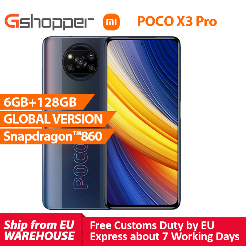 Xiaomi POCO X3 Pro глобальная версия 6 ГБ 128 Snapdragon 860 смартфон 120 Гц DotDisplay 5160 мА/ч, 33 Вт NFC четырехъядерный камера AI