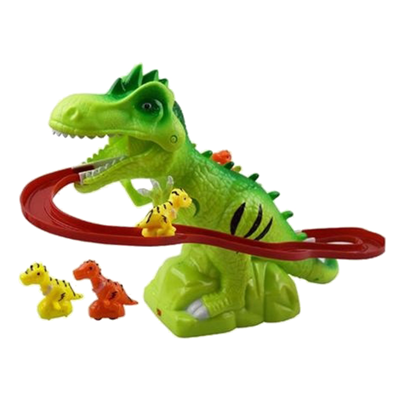 Hot-Children Electric Tracks Climb Stair Dinosaur Toys Glowing With Sound Kid Toy Animals Model Interactive Toys Brown