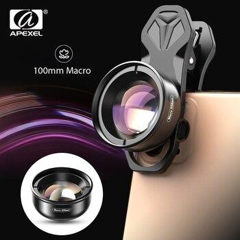 APEXEL lente de teléfono de cámara óptica HD 100mm macro lente móvil super macro videocámara lentes para iPhone Samsung todo smartphone