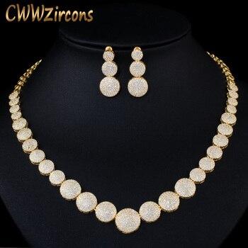 CWWZircons Top brillo oro amarillo africano Zirconia cúbica nigeriana mujeres boda collar de joyería para novias T365