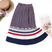 Vintage A Line Skirt Pleated Korean Style Women Long Summer  New Design Skirts 2019 Falda Plisada