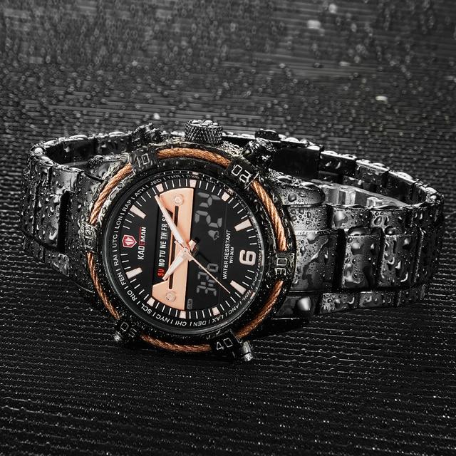 Kademan relógio de luxo dos homens display lcd relógio digital militar esportes relógios de pulso marca superior 3atm aço inoxidável relogio masculino 2