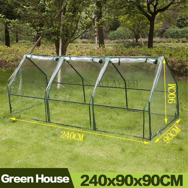 AULAYSED 240x90x90CM Household Plant Greenhouse Durable Insulation Flowers Zipper Mini Garden Cover (With Iron Frame)