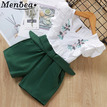 new 2015 Kids clothes Girls sets summer children's clothing grid two-piece children casual sleeveless vest shorts two suits недорого