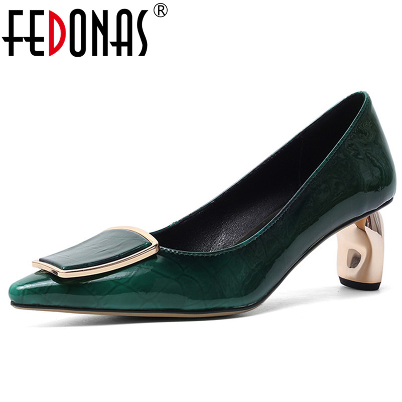 FEDONAS Female Classic High Heels Wedding Shoes Woman Slip On Big Size Cow Patent Leather Office Shoes 2020 Elegant Women Pumps
