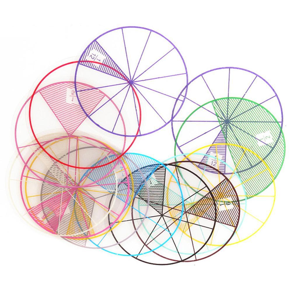 12pcs/lot Maths Fractions Circles Toy Plastic Numbered Fractions Circles Maths Chips Mathematics Number Toy Wholesales Dia. 8cm