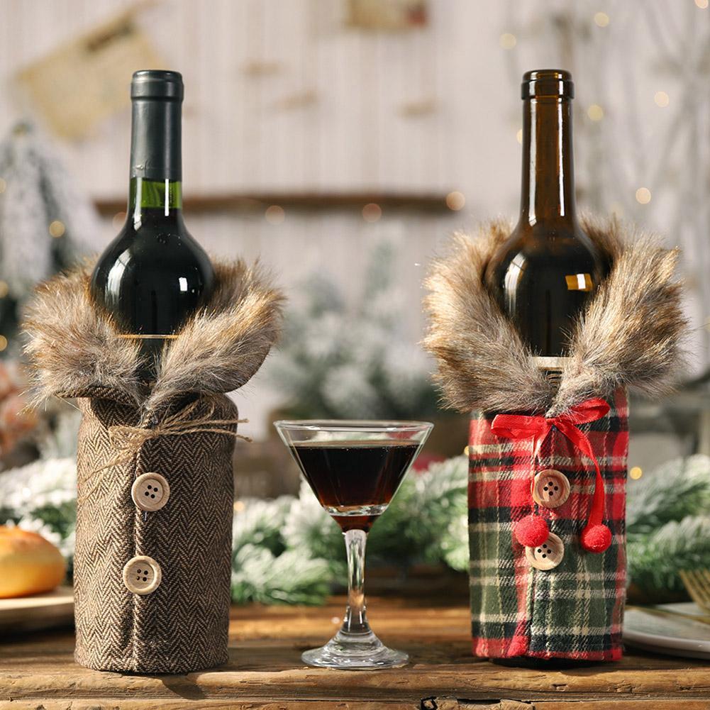 2Pcs Christmas Striped Lattice Wine Bottle Cover Coat Dinner Table Decoration