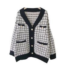 Осенне зимний 2020 свитер пальто рубашка в стиле ретро длинный