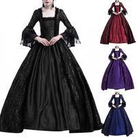 Medieval Renaissance Queen Ball Gown Bell Sleeve Maxi Dress Halloween Costume for Halloween