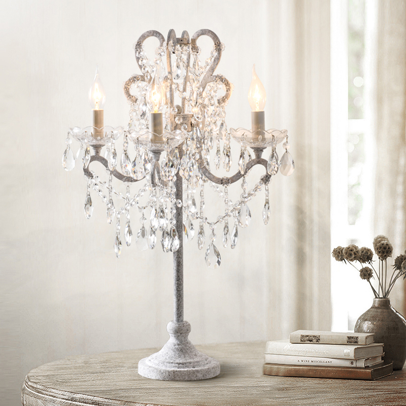 Vintage Crystal Table Lamp English Country Candle Table Lamp Luxury American Desk Light Western Restaurant Crystal Table Lamps
