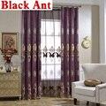 Шторы на окна  для гостиной  Европейский стиль  геометрическая вышивка  вуаль  синель  тюль  фиолетовые шторы из прозрачной ткани  оттенок T & ...