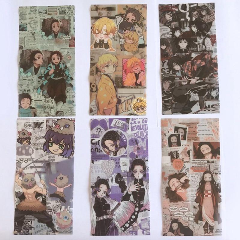 6Pcs/Set Anime Demon Slayer: Kimetsu No Yaiba Sticker My Hero Academy Paper Stationery Stickers