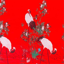 75x100 см, ткань из полиэстера с рисунком красного коронованного журавля для кимоно