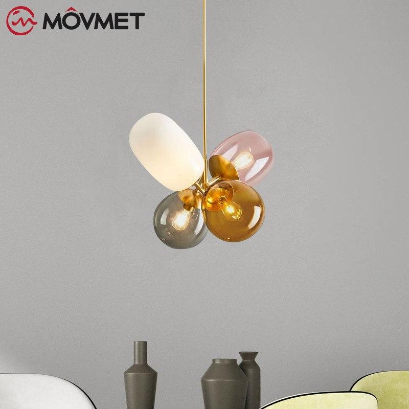 로프트 현대 펜던트 라이트 유리 공 교수형 램프 주방 전등 식당 행글 램프 거실 조명기구