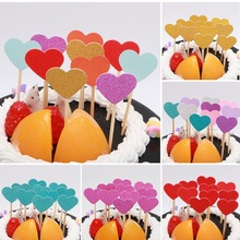 10pcs Happy Birthday Cake Toppers Heart shaped Paper Decorations Party Kids Baby Shower Supplies