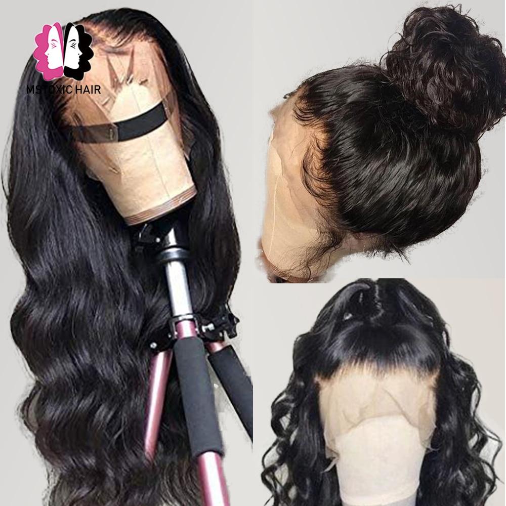 Wig Brazilian Lace-Frontal Human-Hair Body-Wave 4x4 Closure Black Women 30inch Mstoxic