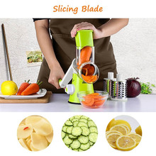 Cortador de frutas y verduras multifuncional, rebanador Manual redondo de mandolina, carne, patata, queso, ralladores, utensilios de cocina