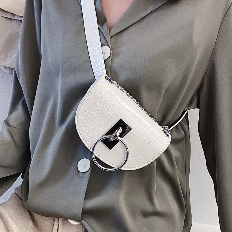 Stone Pattern Mini Saddle Bag 2020 Fashion New High Quality PU Leather Women's Designer Handbag Chain Shoulder Messenger Bag