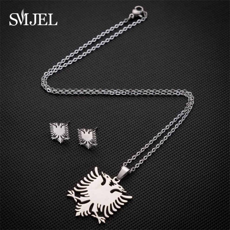 SMJEL albanie aigle boucles d'oreilles pour hommes or acier inoxydable Animal Double tête oiseau Collier bijoux ensemble drapeau ethnique cadeaux Collier