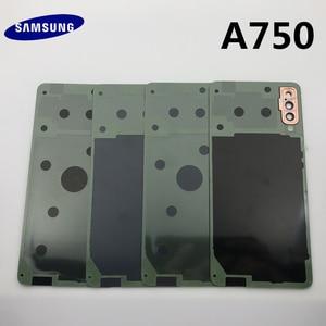 Image 4 - Задняя крышка для аккумулятора, сменный корпус для стеклянной двери + рамка для объектива задней камеры для Samsung Galaxy A7 2018 A750 A750F