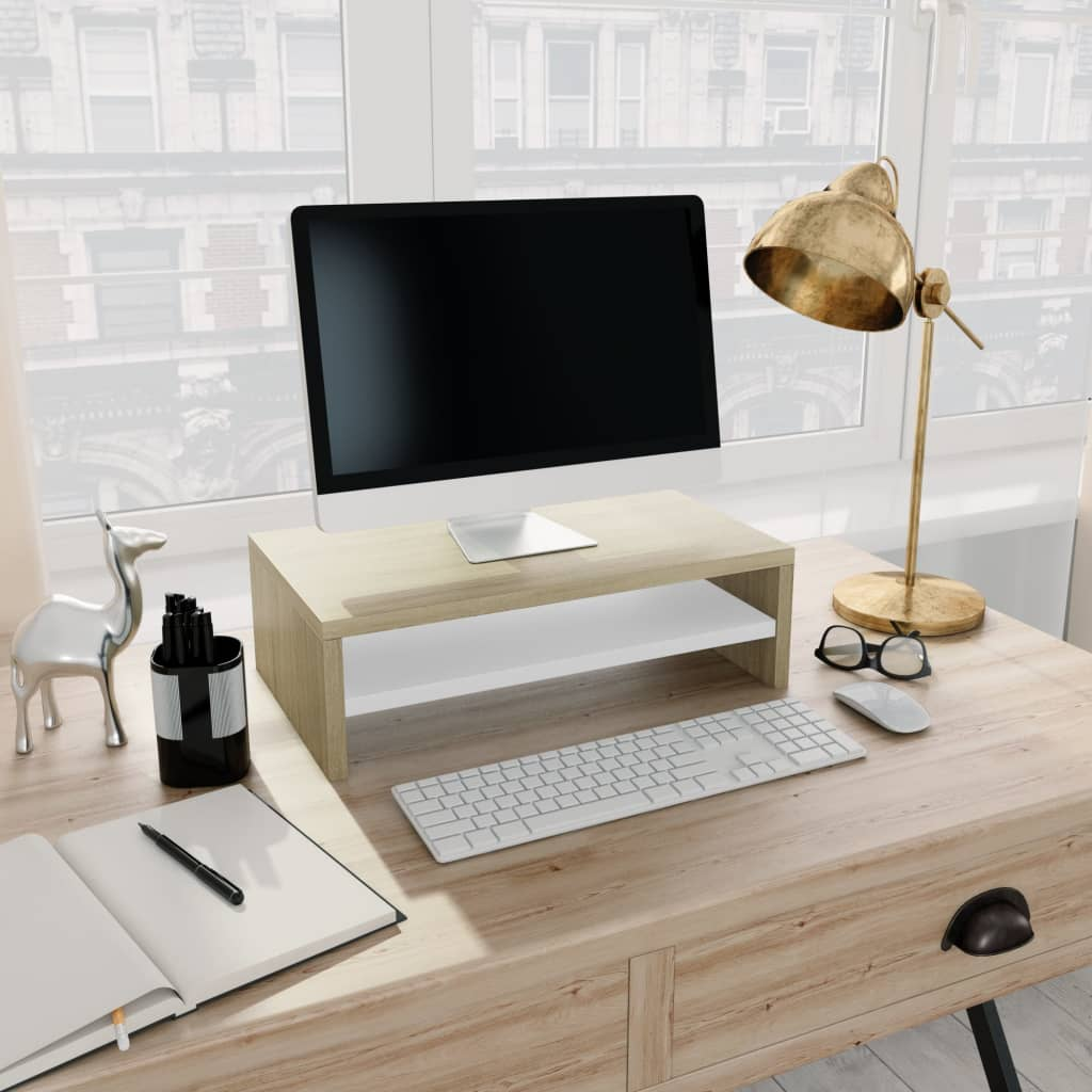 VidaXL Monitor Stand White And Sonoma Oak 42x24x13 Cm Chipboard