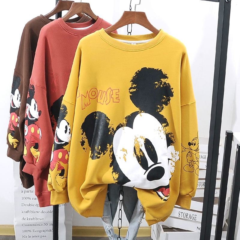 Plus Velvet Hoodies Women Autumn And Winter Lazy Wind Oversized Lamb Velvet Cartoon Mickey Sweatshirt Students Loose Shirt Tops