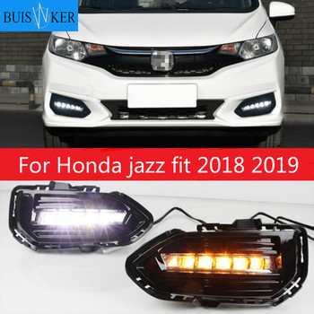 For Honda jazz fit 2018 2019 2pcs LED DRL Daytime Running Lights Daylight Fog Lamp Cover With Turn signal lamp